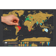 dropship Deluxe Erase Black World Map Scratch Personalized Scratch RoomDecoration Wall Stickers Poster Mini Foil Layer Coating(China)