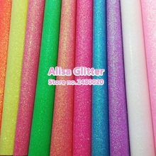 10PCS A4 SIZE 21X29cm Fluo Colors Fine Glitter Leather Pu leather Fabric For Bow DIY Wallpaper handbags shoes GM103A(China)