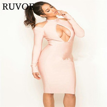 Guangzhou Women CLothing Dress Factory hot sell sexy bust open long sleeve bodycon knee length celebrity party bandage dress(China)