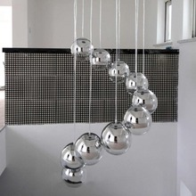 Hot Sale Modern Globe Chrome Finished  Mirror Glass Ball Vacuum LED Pendant Light Lustre Ceiling Lamp Christmas Lighting Fixture