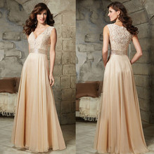 5079 V neck  champagne chiffon party evening dress long maxi plus size fashional design