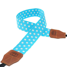 Centechia Universal Retro Dots Blue Shoulder Belt Camera Neck Photo Strap For Canon Nikon Sony Pentax Leica Fuji Olympus DSLR(China)