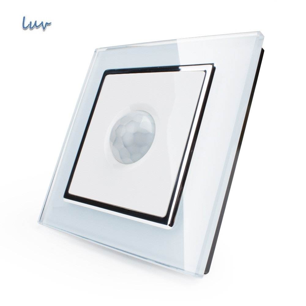 Manufacturer, New Human Induction Switch, White Crystal Glass Panel, AC 110~250V Home Wall Light Switch VL-W291RG-12<br><br>Aliexpress