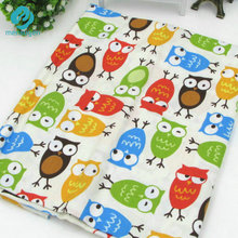 50cm*160cm/piece Cute Colorful Owl Printed 100% Cotton Fabric for Baby Patchwork Quilt Upholstery Fabric Sewing Material(China)