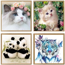 DIY 5D Diamonds Embroidery Animal cat tiger panda Round Diamond Painting Cross Stitch Kits Diamond Home Decoration 30*30cm W210