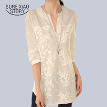 New V-neck Organza Embroidered Shirt White Lace Blouse Top Plus Size Summer Korean Women Blouse Flower Print Blouse 566F 25(China)