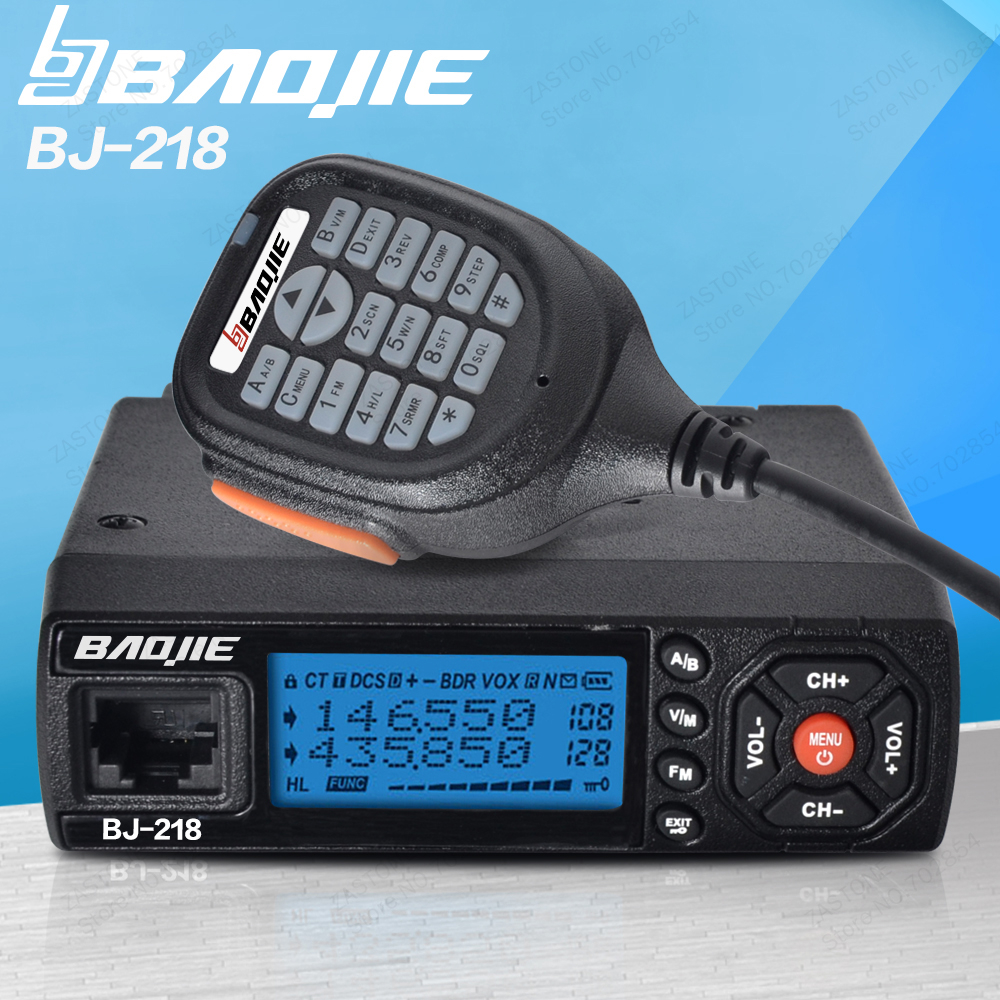 Baojie BJ-218 25W Output Power Mini Mobile Radio VHF UHF 136-174 400-470MHz Ham CB Radio Car Walkie Talkie For Car Bus Taxi(China)