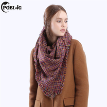 POBING Luxury Brand 2017 Winter Scarf Women Solid Weaving Square Scarves & Wraps Stitching Cashmere Shawls Female Bufandas(China)