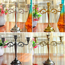 Hot Metal Silver/Gold Plated Candle Holders 3-Arms Stand Zinc Alloy High Quality Pillar For Wedding Portavelas Candelabra