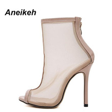 Aneikeh Sexy Sandal Women Heel Style Net yarn Clear Transparent High Heel Sandals Plus Size Stilettos Women Shoes Bare Boot(China)