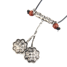 Seanuo Unique Ancient silver lotus root leather pendants necklace for men women fashion long charm rope choker collar necklaces