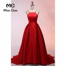 2018 A-Line Prom Dresses for teens Spaghetti Straps Vestidos de fiesta  Draped Floor Length Satin Red Formal Evening Dress 8bc3049fdaaa
