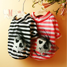 Best Quality Cotton Skull Design Costume Cute dog clothes Yorkshire Chihuahua dog clothing pet clothes shirt(China)