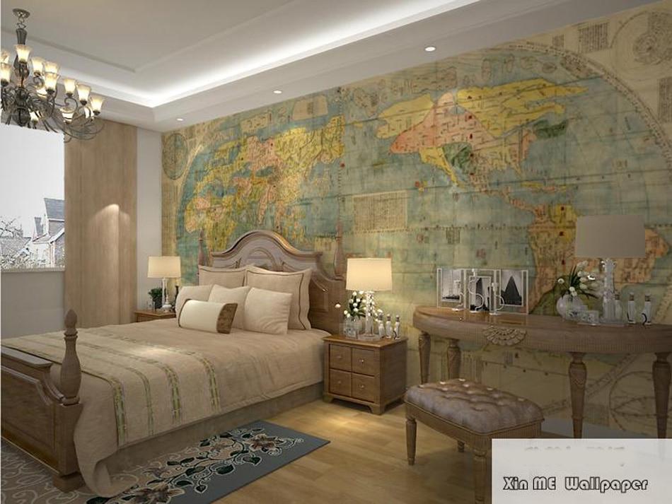 2017 Retro World Map Custom Glitter Wallpaper Brick Walls 3d Flooring Marble Vinyl Vintage Papel De Parede Pintado Tijolo<br>
