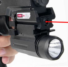 2in1 Tactical CREE LED Flashlight/LIGHT +Red Laser/Sight Combo for Shotgun Glock 17 19 22 20 23 31 37