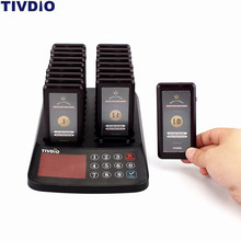 TIVDIO 99 Channel Wireless Paging Queuing System Restaurant 18 Coaster Pagers Receiver+1 Keypad Transmitter Guest Calling F9406(China)