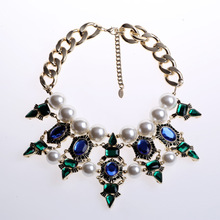 famous brand women jewelry pearl simulated stars original crystal dinner big statement Necklace girlfriend gift party(China)