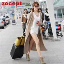 zocept Fashion Women's Clothing Spring Autumn Winter Single Breasted Cashmere Knitted Long Cardigans O-Neck Sweaters Coat Women(China)