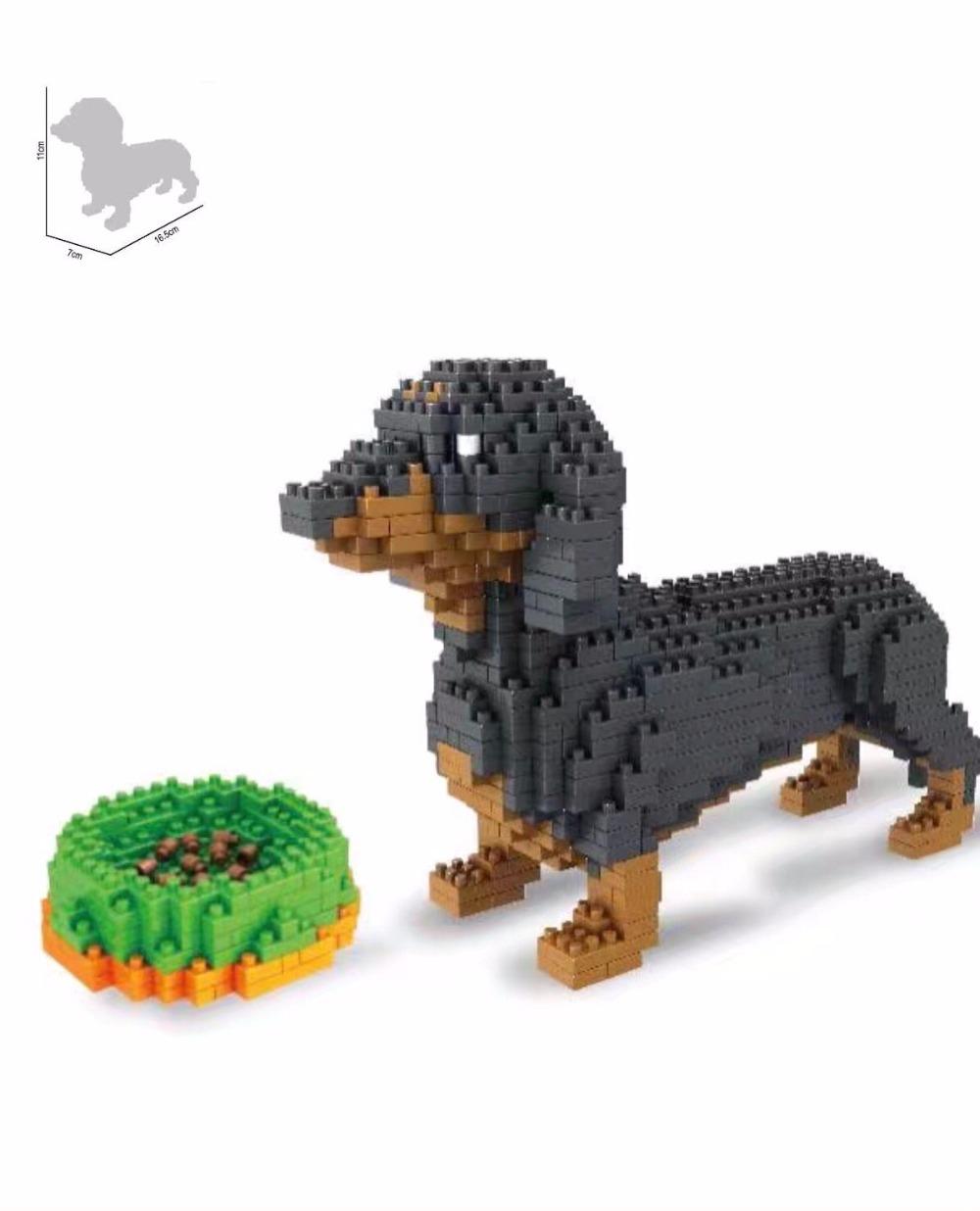 2100pcs Buddy Dachshund Dog Animal DIY Diamond Mini Building  Blocks Bricks