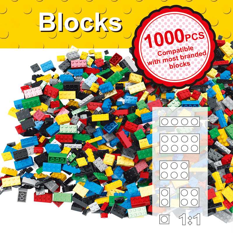 Hot Color 1000 Pcs Base Building Blocks DIY Bricks Creative Toys For Child Educational Block Bulk  Compatible With Major Brand<br>