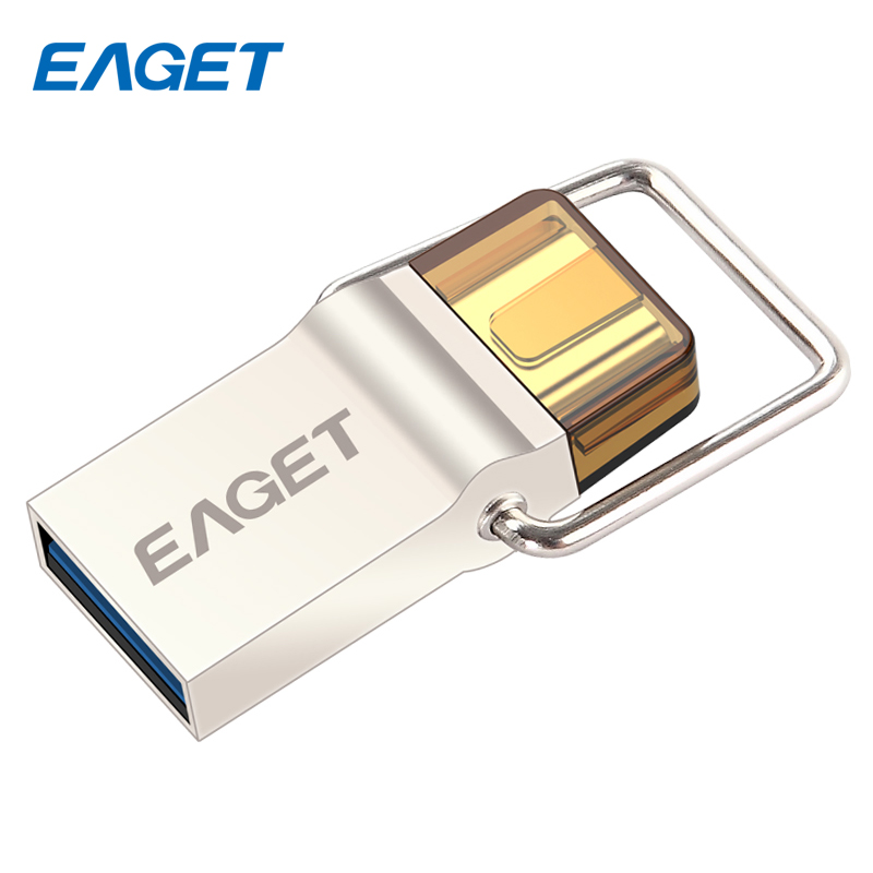 EAGET Type-C Micro USB Flash Drive 16GB USB 3.0 Metal Flash Disk Pendrive 32GB Smart Phone Portable USB Memory Stick 64GB CU10(China (Mainland))