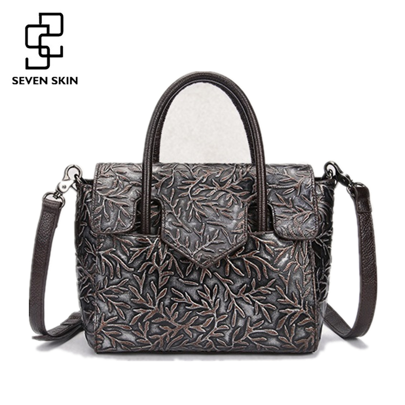 Luxury Handbags Women Genuine Leather Bags Fashion Designer Female Famous Brand Messenger Bag Small Casual Totes Embossed Floral<br>