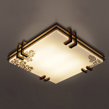 Imitation sheepskin new Chinese ceiling lamp LED modern simple wood wood color living room lighting warm bedroom square CL(China)
