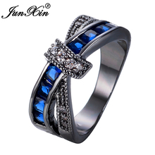 JUNXIN Female Blue Cross Ring Fashion White & Black Gold Filled Jewelry Promise Engagement Rings For Women Birthday Stone Gifts