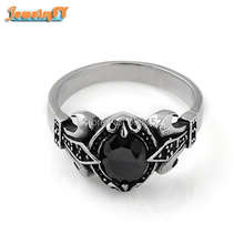 Black Onyx Ring, Titanium Stainless Steel Ring with Jet Crystal Gem Gothic Punk Style Unique Never Fade