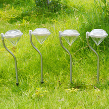 4pcs/lot Diamond Stainless steel Solar lawn light for garden decorative solar power LED solar light outdoor garden Yard lighting