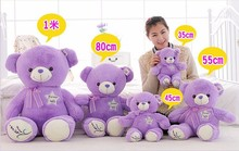 30cm lovely Lavender Bear Purple Teddy Bear Plush Bear Toys Stuffed Doll,High Quality,Birthday Gifts for Children and Girls(China)