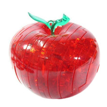 1pc Apple Shape Puzzles For Children Non-Luminance Adult Puzzle DIY Kids Puzzles 3D Crystal Puzzle Jigsaw Assembly Model