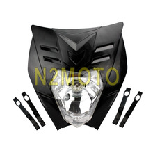 Black Motorcycle Headlight Streetfighter Headlamp Fairing Off Road Head Light for XR CRF DRZ KLX KLR Naked Bike(China)