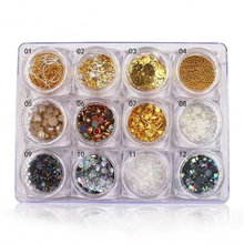 New 12 Boxes/set Mixed Rhinestones/Pearls/Sequins/Rivets/Chain Nail Art Decorations Set Manicure DIY Beauty Nail Accessories Kit