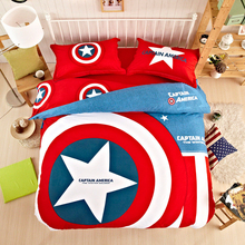 Captain America cartoon bedclothes cotton doona duvet cover set mattress cover/flat sheet pillowcases 4pc/3pc twin queen king