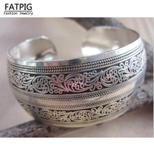 High Quality Women Vintage Bracelets Wide Flower Printing Tibet Silver Plated Totem Cuff Bracelets Bangles