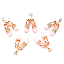 Buy Fashion 20pcs Rhinestones Ballet Shoes Enamel Alloy Jewelry Bracelet Charms Girls DIY Necklace Enamel Metal Drop Drop Pendants for $7.61 in AliExpress store