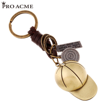 PRO ACME Vintage Copper Alloy Baseball hat Genuine Leather Men Women Keychain Punk Hand Made Key Chain Car Keyring PWK0723