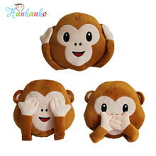 New Whatsapp Emoji Monkey Cushion No Talking No Listening No Saying Cute Emoticon Sofa Pillow Plush Toy Home Decor(China)