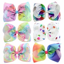 1pc 8inch printed Large Bow Clip Butterfly Polka Dots Rainbow Hairpin Big Hair Clip Handmade Hair Accessories For Girls(China)