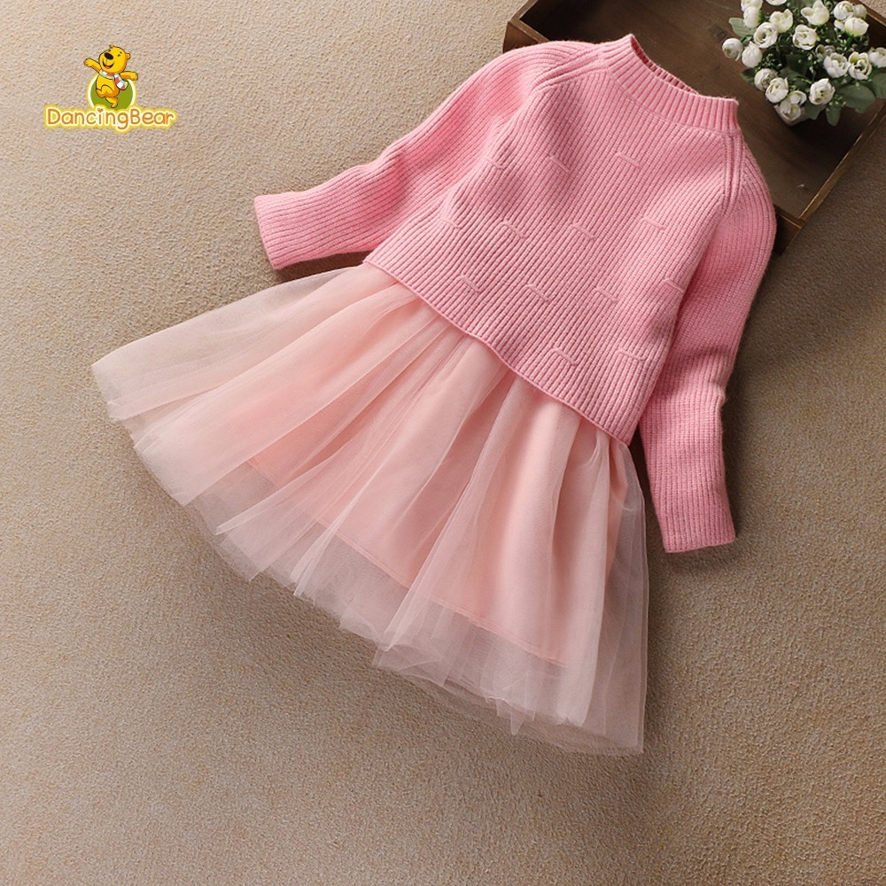 DancingBear Spring Girls Knitting Sweater pullovers Princess Children Voile Dress Cotton solid Baby Long Sleeve Dresses <br>