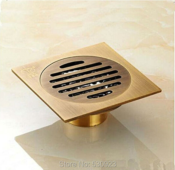 Newly Bathroom 4 Inch Floor Strainer Bathroom Ground Overflow Fitting Square Shower Drain Solid Brass Antique Brass<br><br>Aliexpress