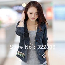 New arrival 2014 all-match short design o-neck small cardigan casual autumn and winter plus size top suit jacket women's