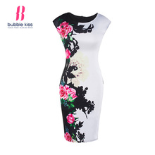 Buy Women Slim Office Dress Summer Sleeveless Elegant Floral Print Vintage Dress Casual Party Formal Sheath Bodycon Pencil Dress for $11.19 in AliExpress store
