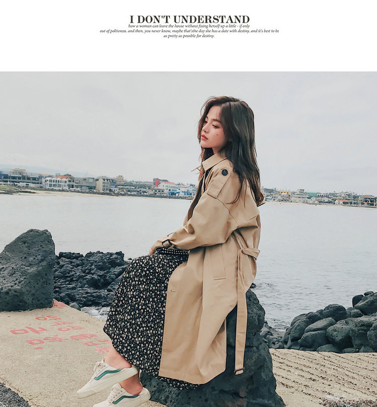 19 Fashion Brand New Women Trench Coat Long Double-Breasted Belt Khaki Office Lady Clothing Autumn Spring Outerwear Quality 21