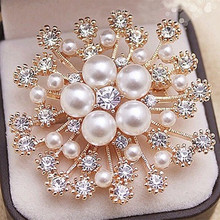 Fashion Gold Tone! High Quality Imitation Pearl And Crystals Flower Bouquet Brooch For Wedding Elegant Women Gift Brooch Pin(China)