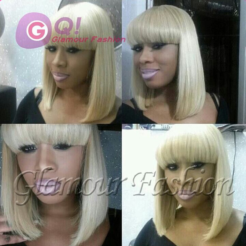 platinum blonde wig human hair blonde lace front wig full lace wigs with full bangs for black women color 613# 27# 10-16 130%<br><br>Aliexpress