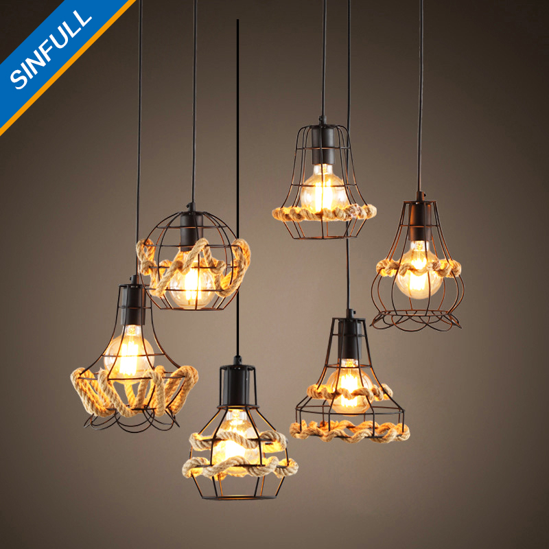 Retro Vintage Rope Pendant Lights Loft Creative Personality Industrial Lamp Edison American Style Suspension Living Room Lamps<br>