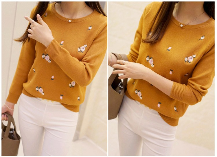 S-3XL New Youth Women's Sweater Autumn Winter 17 Fashion Elegant Peach Embroidery Slim Girl's Knitted Pullover Tops Female 13
