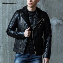 Buy Winter Faux Leather Jacket Men PU Black Men's Motorcycle Jacket Zipper Turn Collar Male Jackets Thick Short Coats M-3XL for $56.77 in AliExpress store